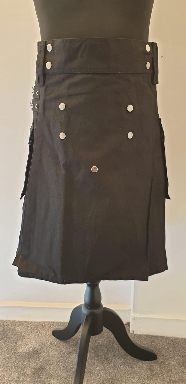 Men's Brand New Black Cotton Utility Kilt, Good Quality 100% Cotton Size 36