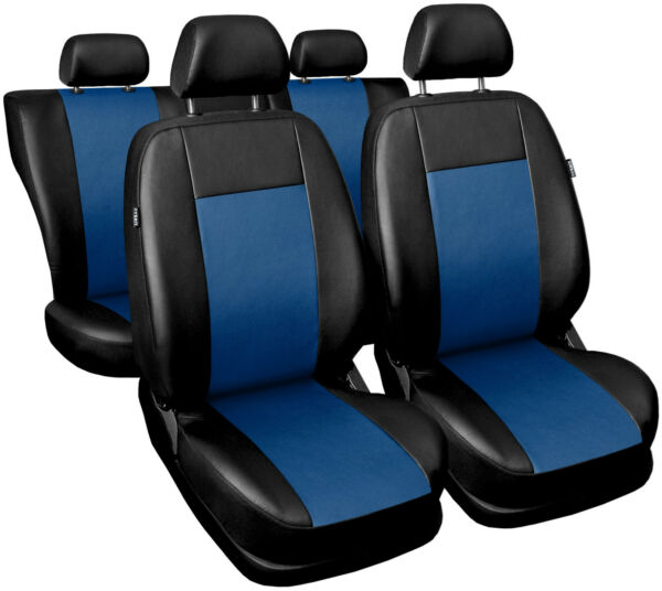 2019 Mode Car Seat Covers Full Set Fit Daewoo Nubira - Leatherette Black/blue Lage Prijs