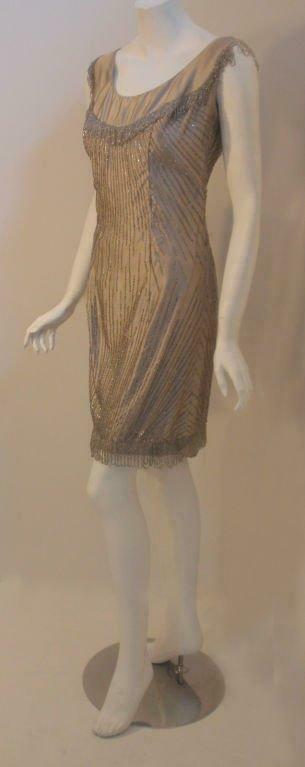 CEIL CHAPMAN 1950s Champagne Silk Shimmering Cock… - image 2