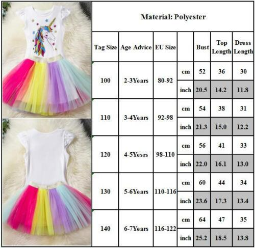 Kid Girls Summer Unicorn T shirt Tutu Skirt Set Party Outfits Clothes Age 2-7Y