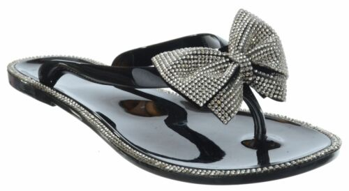 Débardeur femme strass Bow Enfiler Gelée Tongs Toe post Sandales Chaussures Taille