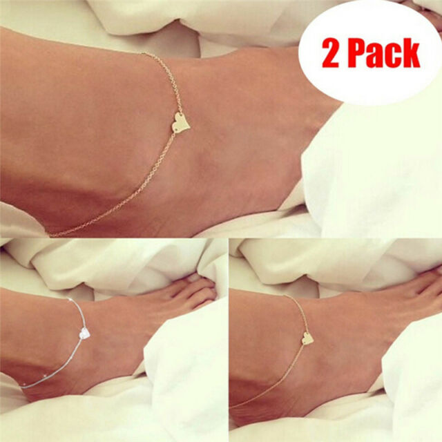 2 Pack NEW! Women Golden Silver Sexy Love Heart Foot Chain Summer Ankle Chain