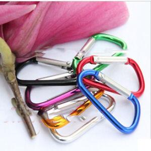 5-Pcs-Aluminum-D-Carabiner-Spring-Snap-Clip-Hooks-Keychain-Climbing-New-LJ