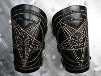 Leather Carved Pentagram Gauntlets.satanic Black Metal.(mdlg0329)....setherial's