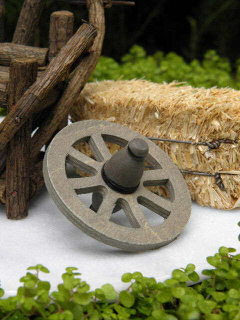 Miniature Dollhouse FAIRY GARDEN Farm Accessories ~ Wood Wooden Wagon Wheel NEW