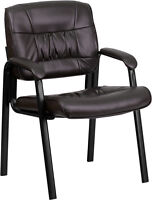 Brown Leather Guest Reception Chair Office Waiting Room With Black Frame Finish