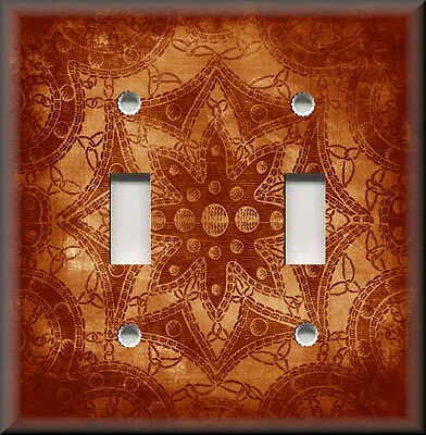 Metal Light Switch Plate Cover - Boho Decor Star Design Orange Home Decor Boho