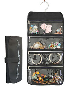 Zippered Pockets Travel Jewelry Roll Up Organizer