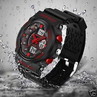 Sport Waterproof Mens Watches LCD Digital Analog Quartz Date Alarm Wrist Watch