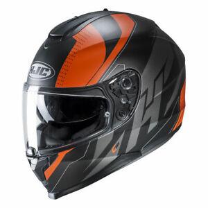 Hjc C70 Boltas Orange Moto Intégral Casque De Scooter Pinlock Ze