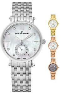Alexander Ladies Fashion Designer Swiss Made Mother of Pearl Diamond Dial Watch