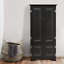 Antique-Black-Wood-Storage-Cabinet-Cupboard-Double-Door-Pantry-Kitchen-Shelves thumbnail 1