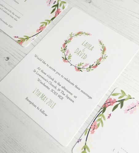 boho flowers invite Floral wreath wedding invitation set flowers, RSVP card