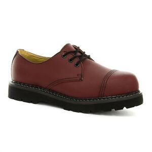 Grinders Regent Shoes Red Cherry Leather Safety Steel Cap Unisex Boot