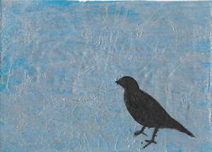 """Ice Bird"" ACEO Acrylic Abstract Painting Art Card 3.5x2.5"
