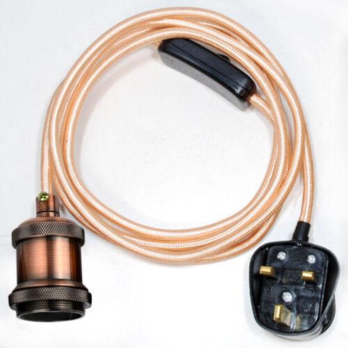 Fabric Flex Cable Plug In Pendant Holders Lamp Light Set  E27 Fitting Vintage UK