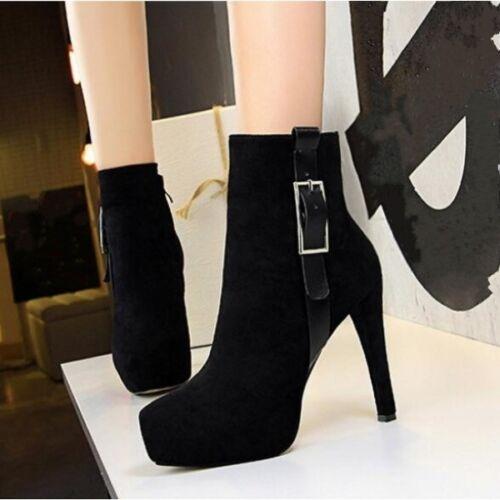 Stiefel Niedrig Stilett 12 cm Schwarz Elegant Leder Kunststoff 9477