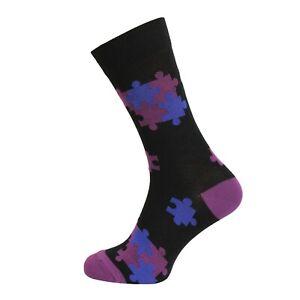Mens 3 Pairs Soft Natural Bamboo Socks UK 7-11 EU 40-45 - Jigsaw Design