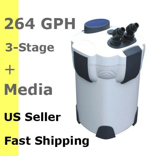 3 STAGE EXTERNAL CANISTER AQUARIUM FILTER SALT&FRESH OK 264 GPH w  FILTER MEDIA