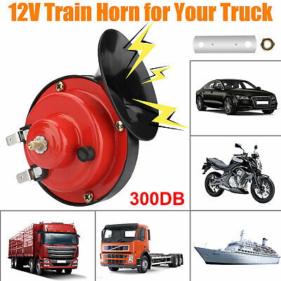 12v Waterproof Double Horn Raging Sound Raid Siren Red JIMENG Super Loud Train Horn for Car Truck Train Boat Motorcycle Air Electric Snail Single Horn