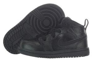 7199bb5969 Nike Air Jordan 1 Mid BT Black on Black Boys Toddler Basketball ...