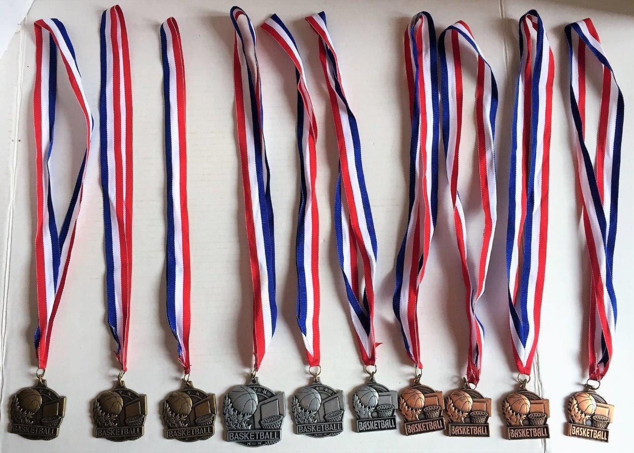 Lote de 10 medallas de baloncesto trofeo Corona premios de oro plata y bronce hecho en EE. UU.