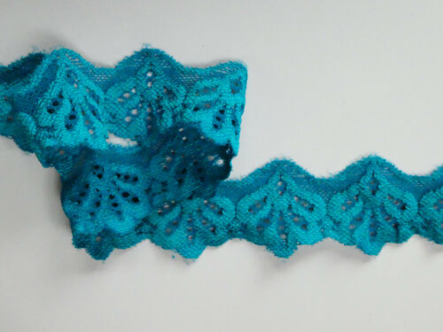 """5 METRES Turqoise /'Crows Foot/' Stretch Cut Out Lace Trim 1.5/""""//5cm TOP SELLER"""