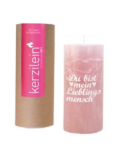 Kerzilein-Kerze-Rustik-Du-bist-mein-Lieblingsmensch-pink-weiss-H15-cm-mit-Spruch
