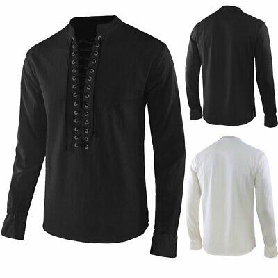 UK Men Retro Solid Shirts Long Sleeve Lace Up Ethnic Tops Blouse Holiday T shirt