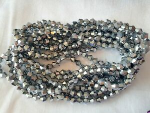 Joblot-of-10-strings-silver-color-6mm-bicone-shape-Crystal-beads-new-wholesale
