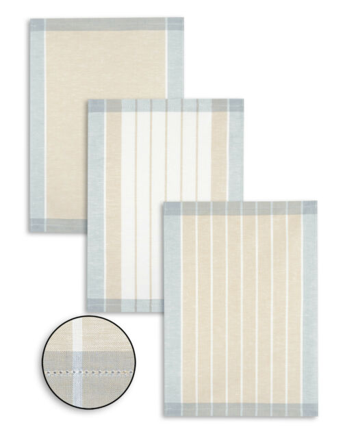 3-er Set Kracht Geschirrtücher, Halbleinen, Streifen, graublau-beige, 50x70 cm
