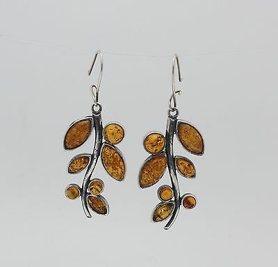 Sterling Silver Norse Design Oval Shape Baltic Amber Leverback Drop Earrings