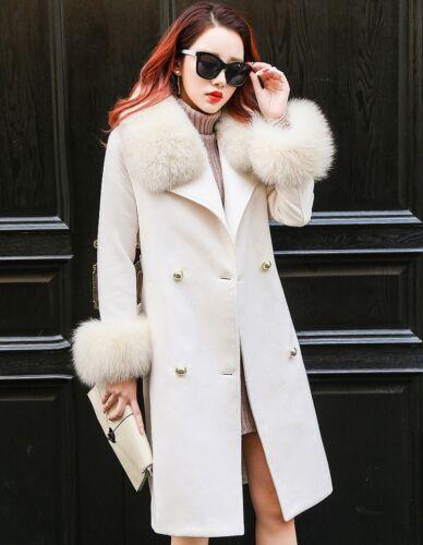 Outwe Fur Jacket Parka Varm Bælte Blend Color Trench Women Collar Coat Slim Wool 7aw1f1