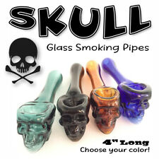 Nice 4 Thick Glass Skull Tobacco Smoking Pipe Choose Color Bowl Free Shipping