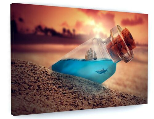 ABSTRACT BOTTLE PIRATE SHIP /& SHARK SUNSET CANVAS PICTURE PRINT WALL ART #5758