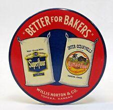 Willis Norton INTER-OCEAN MILLS FLOUR Topeka KANSAS paperweight pocket mirror *