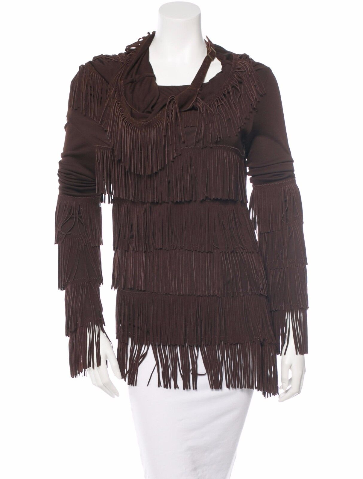 CRAZY COOL, SOLD OUT, NWT ,575 JEAN PAUL GAULTIER FEMME TOP WITH SUEDE FRINGE