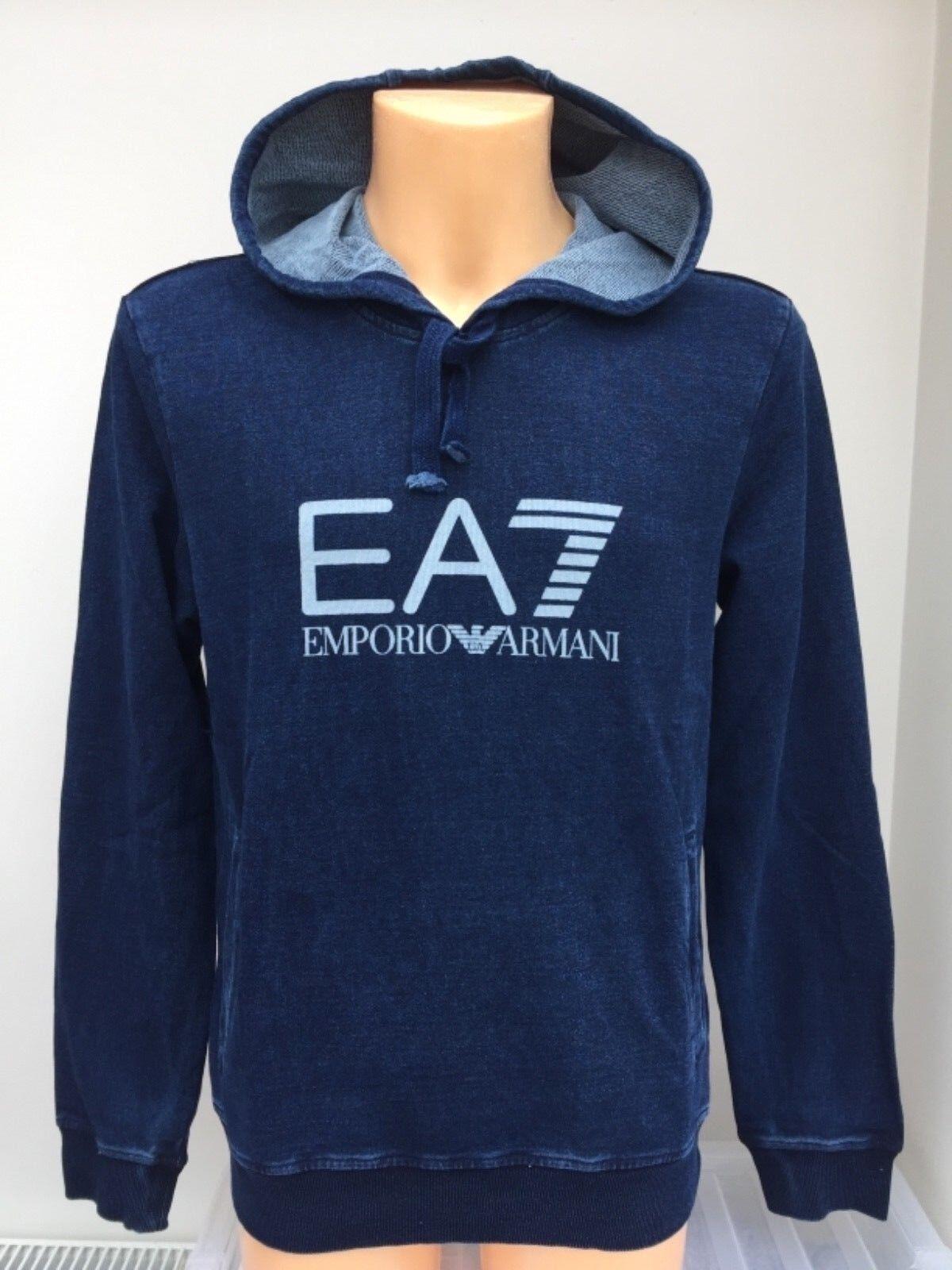 EMPORIO ARMANI EA7 Indigo OTH Hoodie Large EA7 Chest Logo Größes S M L XL BNWT  | Zu verkaufen