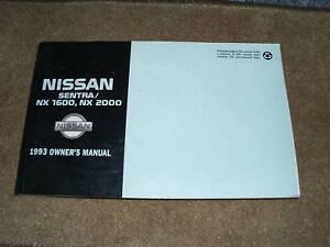 1993 nissan sentra nx 1600 2000 owners manual original ebay rh ebay com 1993 nissan sentra owners manual pdf 1994 nissan sentra owners manual free