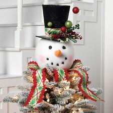 18 In Snowman Head With Hat Christmas Tree Topper EBay - Christmas Tree Top Hat