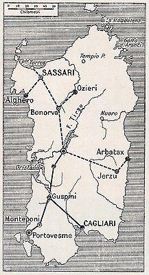 Arbatax Cartina Geografica.D2883 Sardegna Centrale Del Tirso E Condutture Mappa Geografica 1922 Map Ebay