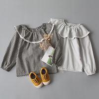 Fashion kids girl plaid blouse Cotton lace ruffled shirt Tops Plaid Shirt 3-8ys