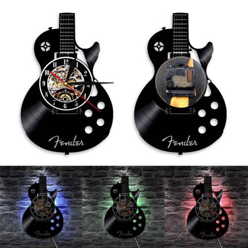Acoustic Guitar Musical Instrument Silent Vinyl Record Wall Clock Home Bar Decor