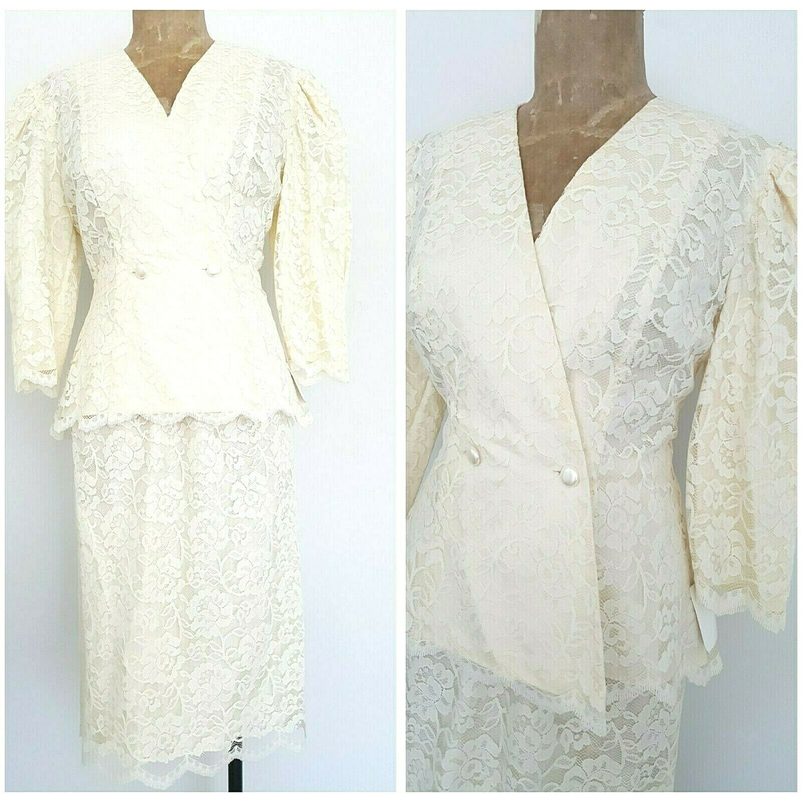 Vintage 80s Lace Puff Sleeve Wedding Dress Größe Small Mother of the Bride Party