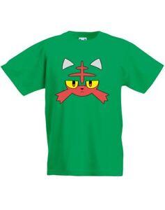 Litten-Face-Design-Printed-Kids-T-Shirt-Casual-Crew-Neck-Tee-for-Girls-Boys