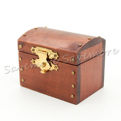 Wooden Treasure Chest Vintage Brown Case Box Miniature Dollhouse Decor Gift Toy