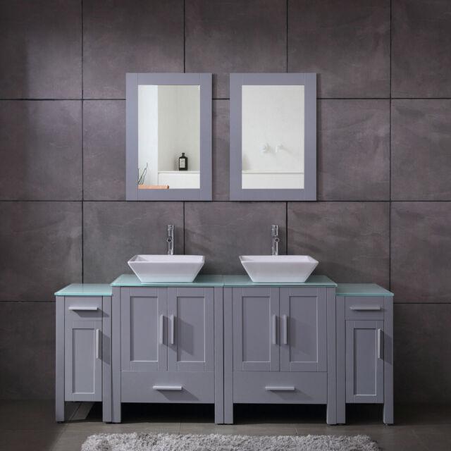 72 Double Bathroom Vanity Glass Countertop Marble Sinks Mirror For Sale Online Ebay
