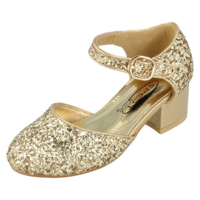 33a37f6914b86c Ragazze Spot On Glitter Scarpe col tacco H3065 UK 13 Bambini dorato ...