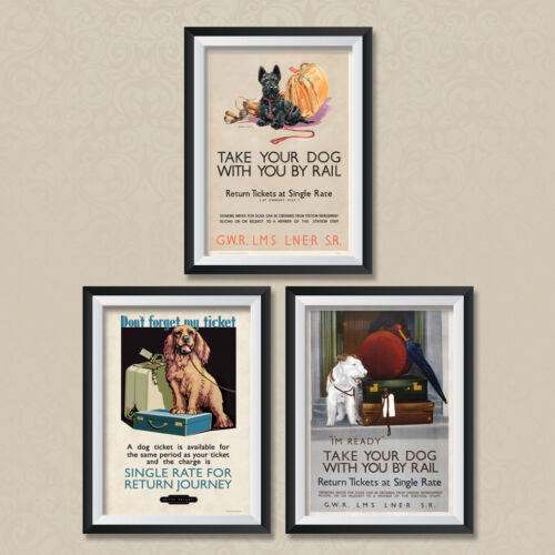 A4 Vintage Travel Posters British Railways GWR LMS Take your Dog Poster
