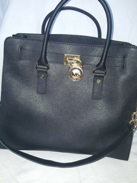 fafd8775caad MICHAEL KORS Hamilton LARGE Black Saffiano Leather Padlock Shoulder Tote  Chain